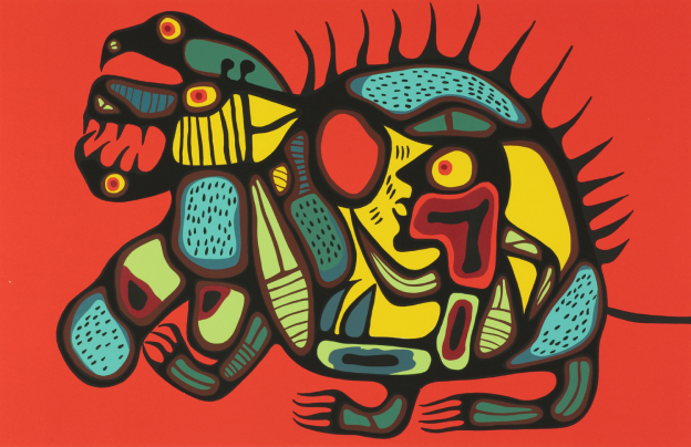 Painting with a red background and Indigenous legendary beings in yellows reds and blues